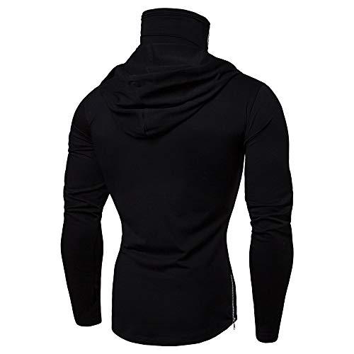 Mens Hoodie,Realdo Mens Skull Pullover Casual Solid Zip Long Sleeve Hooded Sweatshirt Tops(Large,Grey)