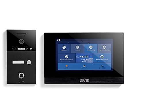 GVS IP Video Türsprechanlage, Unterputz-Türstation IP65 mit RFID und Fingerprint, 1x 10 Zoll Monitor, App, HD-Kamera 156°, Türöffner-Fkt, 32GB Speicher, PoE-Switch, 1 Familienhaus Set, AVS5263U