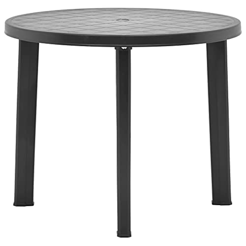 vidaXL Garden Table Couch Side End Tea Outdoor Garden Patio Balcony Bistro Tea Table Outside Dining Furniture Round Anthracite 89cm Plastic