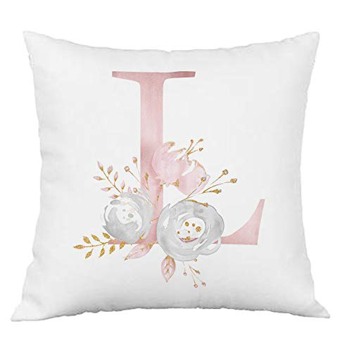 Hangood Pink Flowers Alphabet Letter Cushion Covers L 16x16 Soft Throw Pillow Cover 40cm x 40cm L