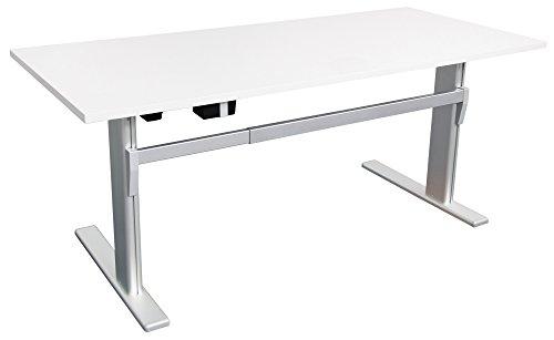 Dila GmbH Höhenverstellbarer Schreibtisch Ergonomisch Elektrisch B 180 cm x T 80 cm Bürotisch Arbeitstisch Workstation (B 180 cm x T 80 cm, Weiß)
