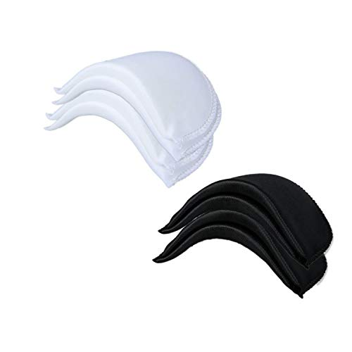 Chris.W 4 Pairs 1/2' Covered Set-in Shoulder Pads Sewing Foam Pads for Blazer T-Shirt Clothes, Medium-2 Pairs White and 2 Pairs Black