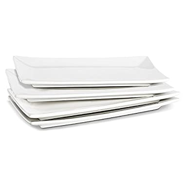 Lifver 10-inch Porcelain Serving Platter/Rectangular Plates, Natural White, Set of 4
