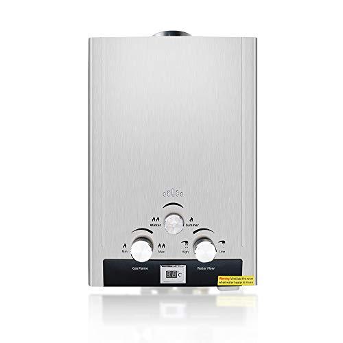 Chauffe Eau Gaz 6L, IDABAY 1200W Thermostat LPG Chauffe Eau Au Butane en Inox avec Thermostat Réglable