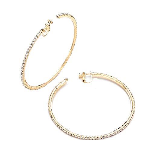 Schmuckanthony Hoernel. Feine Ohrclips Clips Kreolen Creolen Clip On Hoop Gold Ohrringe Kristall Klar 7,5 cm Durch.