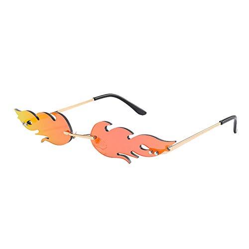 YTJHFA Gafas de sol de llama / espejos polarizantes / gafas de sol de moda / gafas de sol sin marco de metal / Europeo-Americano-Europa-gafas/ligero/ de gama alta / personalidad (150*150*58mm, rojo)