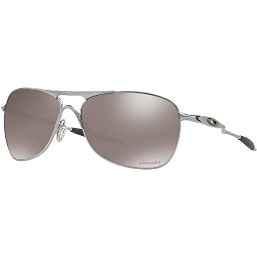 Oakley Men's OO4060 Crosshair Aviator Metal Sunglasses, Lead/Prizm Black Polarized, 61 mm