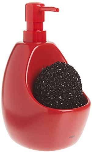 Umbra 330750-505 Joey - Dispensador de jabón líquido con compartimento para esponja (740 ml), color rojo