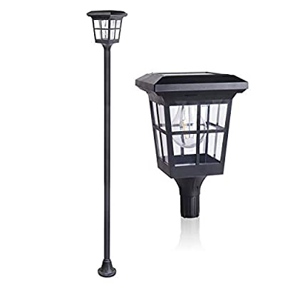 KMC LIGHTING ST4362SS4 Solar Lamp Post Light 60 LUMENS Outdoor Solar Powered LED Street Light for Patio, Post Light, Lawn, Pathway, Driveway, Front/Back Door