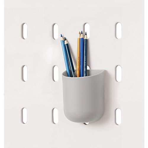 iDesign Portalápices para Colgar en un Tablero de Pared, Bote para Panel Perforado Ideal para lápices, cosméticos, Herramientas, etc, Organizador de Escritorio de plástico, Gris