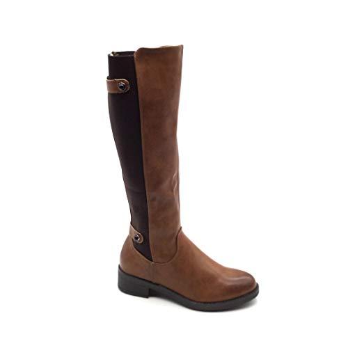 Angkorly - Damen Schuhe Stiefel Oberschenkel-Boot - Flexible - Reitstiefel - Sexy - Einfach Basic - Basic - Spitze Blockabsatz 4 cm - Camel FR320 T 39
