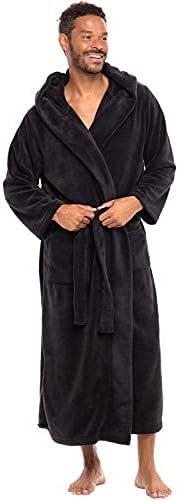 Alexander Del Rossa Men's Warm Fleece Robe with Hood, Big and Tall Contrast Bathrobe