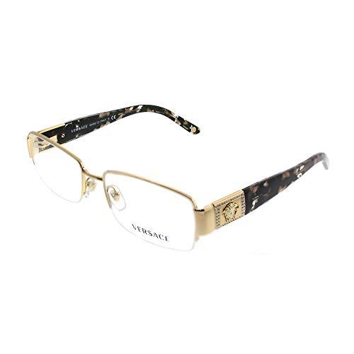 Versace VE 1175B Eyeglasses w/ Gold Frame and Non-Rx 51 mm Diameter Lenses, VE1175B-1002-51