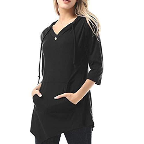 JiaMeng Damen Sweatshirt Langarmshirt V-Ausschnitt Pullover Casual Sport Shirt Loose Einfarbig Oberteile Herbst Winter Warme Lange Tops