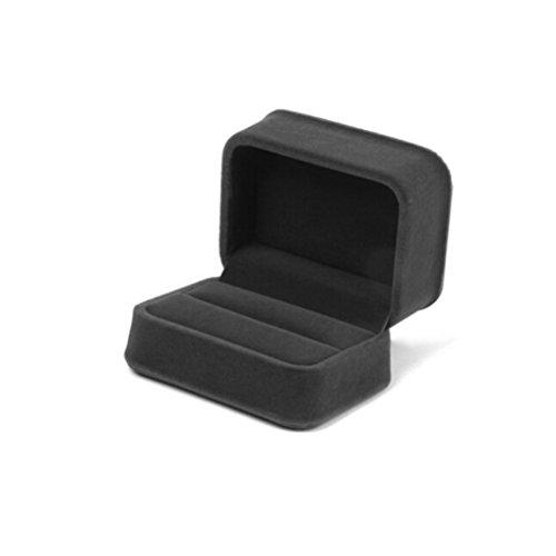 WINOMO Couple bague bijoux boîte cadeau Box stockage affaire Portable doux Velvet(Black)