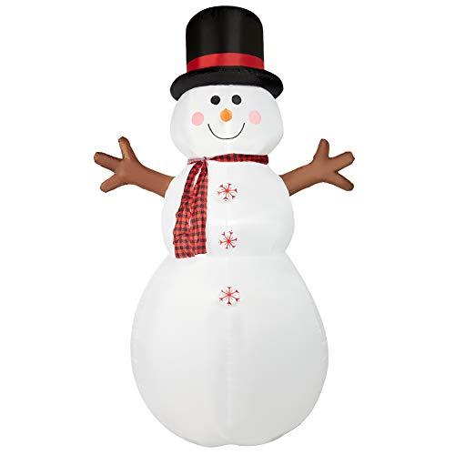 SUPERJARE Muñeco de nieve inflable de Navidad de 2.43 m, decoración con luz LED, animado para patio, fiesta, césped, interior y exterior