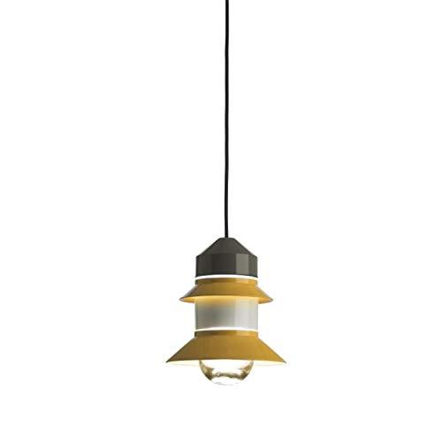 Lámpara Colgante 1 x E27 LED estándar 8W con difusor de Cristal soplado y prensado, Modelo Santorini, Color Mostaza, 33 x 33 x 25,8 centímetros (Referencia: A654-003)