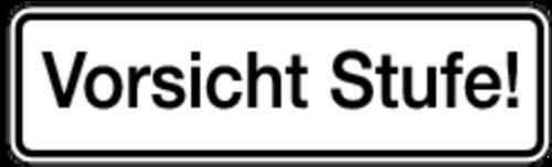 Schild Alu Vorsicht Stufe 70x240mm