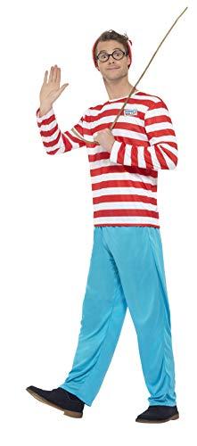 De Smiffy - Traje ¿Dónde está Wally, Incl. Chaleco, Pantalones, Gafas y Sombrero, Hombre