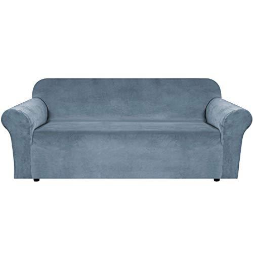 JHLD Samt Sofabezug, Stretch Sofa Überwürfe Elastische Sofahusse Weiche Maschinenwaschbar Couchbezug Zum 2 Sitzer 3 Sitzer-grau Blau-Groß
