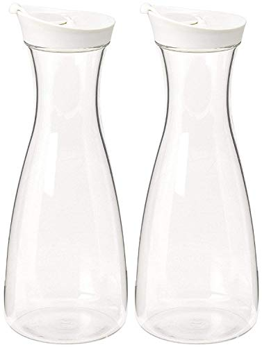 2 PK-Large White (clear) Plastic Carafe Pitcher -Acryli -BPA Free-57oz.(1.7 LT.) - Premium Quality For Juice Water Wine-Iced Tea or Milk- No Stickers! No Dishwasher! (2)