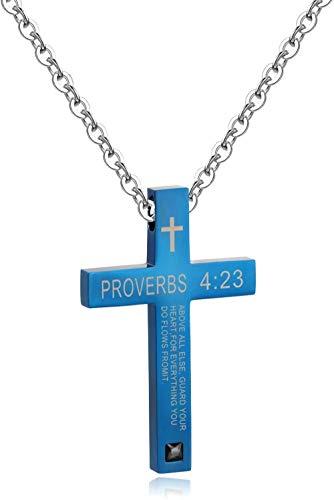 NC110 Biblia Cruz Colgante religión Hombres y Mujeres Pareja Estudiantes Collar de Acero de Titanio Colgante Oro Mujeres-Mujeres_Gold