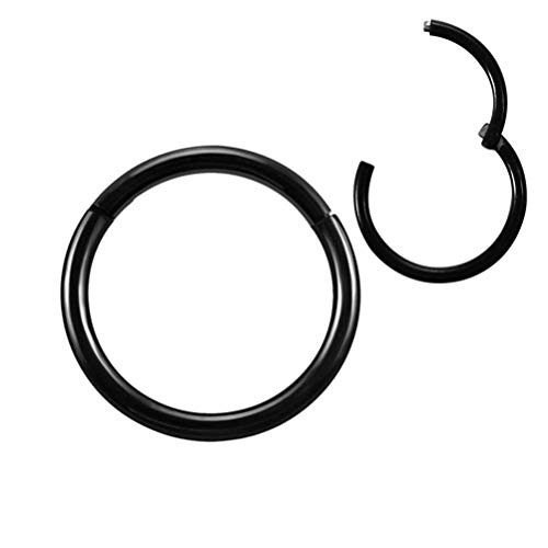 Titanium Steel 16 Gauge Hinged Seamless Septum Ring Nose Piercing 12mm Cartilage Earrings for Women Men