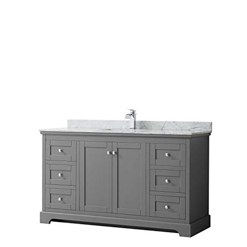 Wyndham Collection Avery 60 Inch Single Bathroom Vanity in Dark Gray, White Carrara Marble Countertop, Undermount Square Sink, and No Mirror