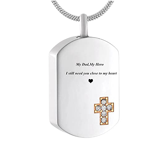 Wxcvz Colgante De Urna De Cremación Collar Conmemorativo De Cremación con Forma De Etiqueta De Perro Pequeña para Ashes-My Dad, Colgante De Urna De Recuerdo Grabado