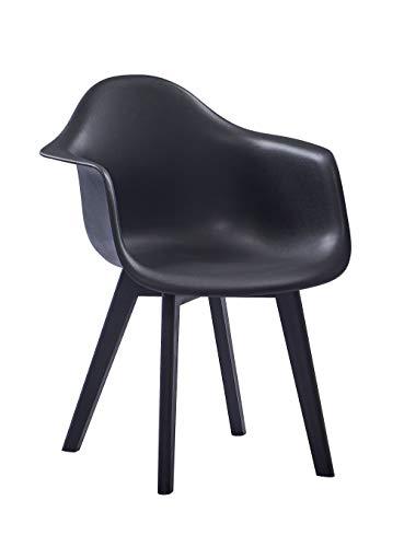 SAM Schalenstuhl Luis, Schwarz, ergonomisch geformte Sitzschale aus Kunststoff, bequemer Esszimmerstuhl im Retro-Design, Holzgestell aus Buche schwarz lackiert