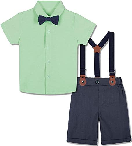 mintgreen Conjuntos de Ropa para Bebés Niño, Infantil Sólido Camisa Pantalones Ceremonia Corbata Moño Manga Corta Boda Traje con Suspender, Verde Claro, 18-24 Meses