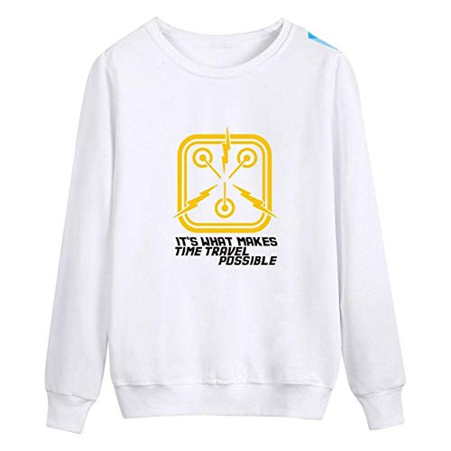 Back to The Future Print Fashion Capless Sweatshirt Men Women Pullover Casual o Neck Long Sleeve Harajuku Sweatshirt Tops,White,XS