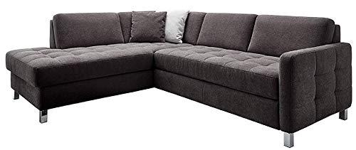 Cavadore Ecksofa Paolo mit gesteppter Sitzfläche / Hellgraues Sofa in L-Form im modernen Design / 233 x 80 x 196 / Dunkelgrau