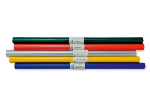 LANDRE 100420049 Bucheinband-Folie 10er Pack Rolle Format 200 x 40 cm farbig sortiert Heftumschlag Buchumschlag