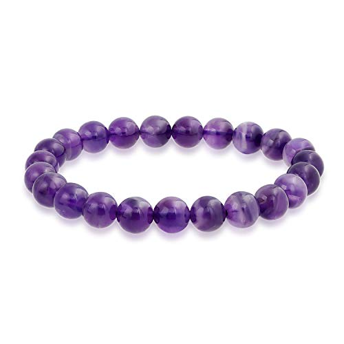 Bling Jewelry Semi Precious púrpura Piedra Preciosa Amatista Redondo Perla 8mm Pulsera de Estiramiento para Mujeres Hombres Adolescente Unisex una Sola hebra apilable