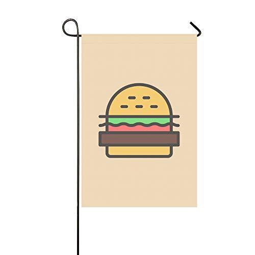 JOCHUAN Décor à la Maison de Bande Dessinée Burger Pain Salade Ketchup Côtelette Jardin Flaghouse Cour Flaggarden Cour Décorationssaison Bienvenue Drapeau en Plein Air 12X18 Pouce