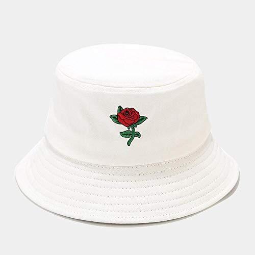 TUOF Sombrero Mujer Rosa Bordado Pescador Bucket Hat Mujer Protector Solar al Aire Libre Sombrero para el Sol Gorras de Lavabo, Blanco, 56-58 Cm