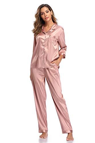 SHEKINI Damen Klassische Zweiteiliger Schlafanzug mit Hose mit Gummibund am Einfarbige Nachthemd Satin Nachtwäsche Knöpfen Pyjama Sleepwear(Stil 3 Pyjamas Set-Rosa,M)