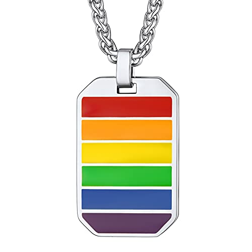 U7 Gay Pride Necklace Personalized LGBT Jewelry Stainless Steel Love is Love Octagon Dog Tag Pendant Gay & Lesbian Pride Rainbow Necklace for Men/Women