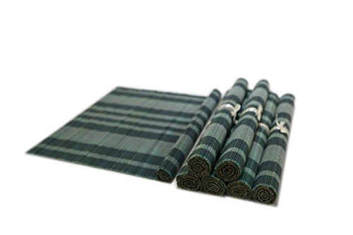 Bamboo Blacemats-Handmade Bamboo Placemats Table Mats Decoration, Rainbow Blue 6 Pack (30x45cm)