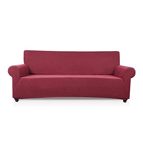 VanderHOME 3 Plaza Funda de sofá Cubiertas de sofá Slipcover de sofá Protector de Muebles Resistencia al Deslizamiento Super Stretch Resistente al Desgaste Guardapolvo, Vino Rojo