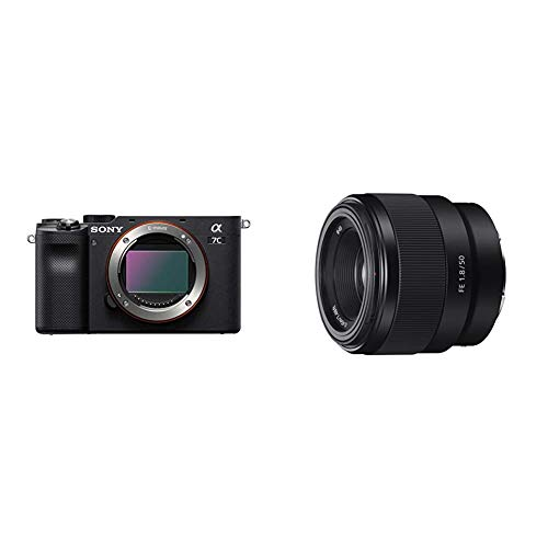 Sony Alpha 7C Full-Frame Mirrorless Camera - Black with Sony - FE 50mm F1.8 Standard Lens (SEL50F18F/2)