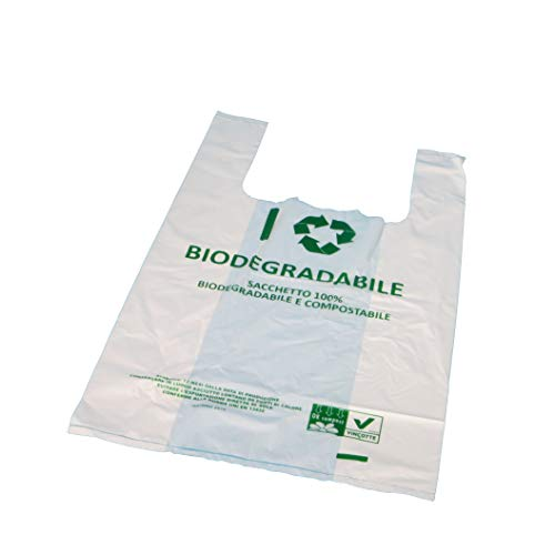 1000 Bio Hemdchentragetaschen Knotenbeutel Shopper Bags Hemdchentüten Obsttüten 30+18x55cm Jumbo 18my extrastark Naturweiß transparent 100% biologisch abbaubar/kompostierbar (DIN EN 13432)