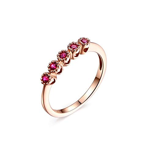 Cenliva Vintage Ruby Ring, 18K Gold 0.22ct Diamond Accented Ruby VVS1-VVS2 Ring Size Q 1/2