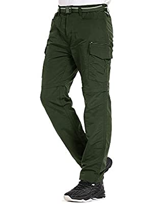 Mens Hiking Pants Convertible Quick Dry Lightweight Zip Off Outdoor Fishing Travel Safari Pants (Z6055 Army Green, 40)