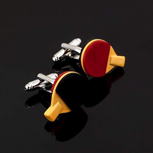 XKSWZD joyería Deportes Hombres Negro Rojo Tenis de Mesa Raqueta Gemelos Camisa Manga Gemelos