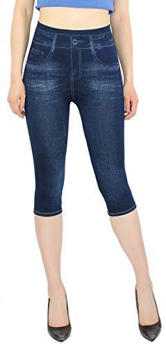 dy_mode Capri Leggings Damen 3/4 Frauen Leggings Jeans Optik - Kurze Sommer Leggings - CLG002 (3LG218-Blau   OneSize Gr.36-42)