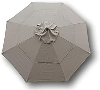 Formosa Covers Double Vented 9ft Market Umbrella Canopy 8 Ribs Taupe (Canopy Only)