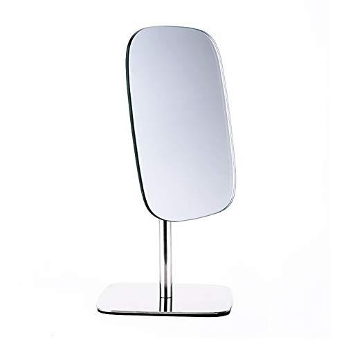 Miroir Maquillage sur Pied Cosmétique Miroir Professionnel Rasage Miroir Compact 360 Degrés en Acier Inoxydable