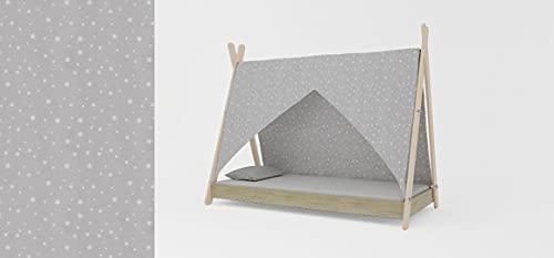 Meblex Cama tipo tipi para niños en madera natural, para niñas y niños, tamaño 160 x 80 cm, color blanco y verde estrellas Sonoma Frame Todler